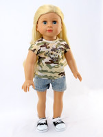 Camouflage Tee with Denim Shorts