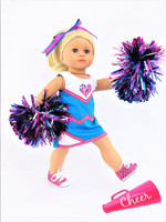 Cheerleading Outfit with Metallic Pom Poms