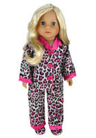 Animal Print Satin PJ with Pink Trim & Slippers for 18 inch American Girl Dolls