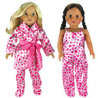 Satin Heart PJ's with Robe and Slippers for 18 inch American Girl Dolls