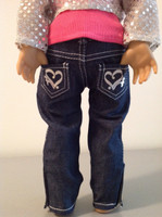 Heart skinny jeans for 18 inch American girl dolls