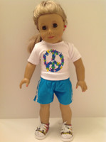 Peace Sign T-Shirt & Shorts for 18 inch American Girl Dolls