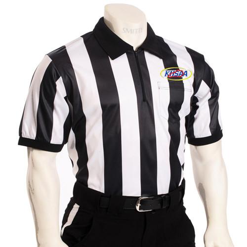 "KHSAA Embroidered 2"" Stripe Mesh Football Referee Shirt"