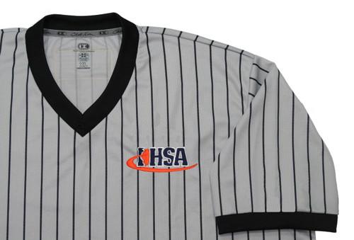 Cliff Keen Illinois IHSA Gray Pinstripe Wrestling Referee Shirt Extra Tall