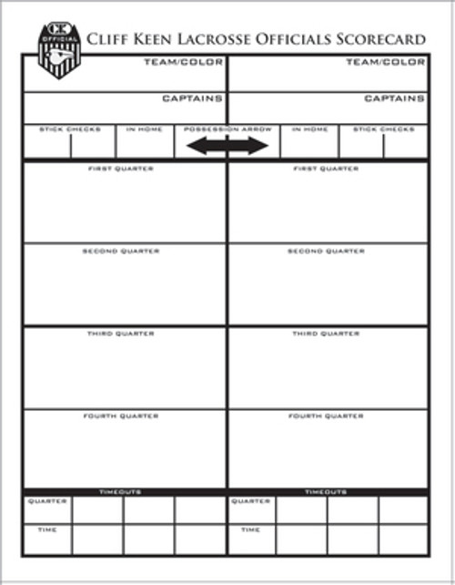 Cliff Keen Lacrosse Game Card