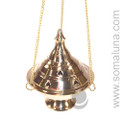 Brass Conical Hanging Incense Burner 7""
