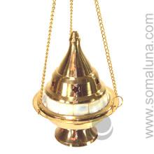 Brass & Mother Of Pearl Hanging Incense Burner