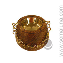 Hanging Wooden Cauldron Incense Burner