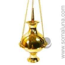 Brass Hanging Incense Burner, 7 inch