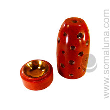 Red Soapstone Charcoal Incense Burner