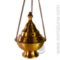 Honey Gold Conical Hanging Incense Burner, 7 inch