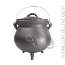 Quality Iron Pentacle Cauldron, 8 inch