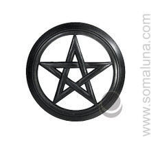 Wood Wall Pentacle, large black