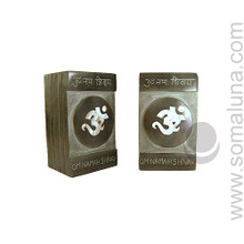 Om Inlay Stone Bookends