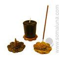 Lotus Soapstone Incense & Candle Holder, 2 inch