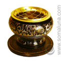 Brass Etched Charcoal Incense Burner