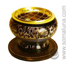 Brass Etched Charcoal Incense Burner