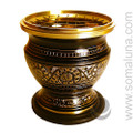 Brass Etched Charcoal Incense Burner, Medium