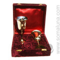 Two Brass and Silver Chalices Set w/Box