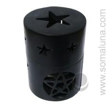 Black Pentagram Soapstone Incense Burner