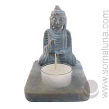 Buddha Soapstone Candle Holder & Incense Burner