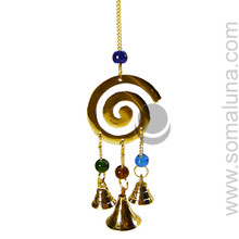 Brass Goddess Spiral Wind Chime with Beads