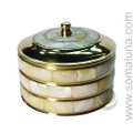 Round Mother-of-Pearl Brass Box