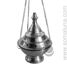 Silver Conical Hanging Incense Burner, 6.5 inch