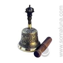 Seven Metal Tibetan Bell with Striker, 6 inch
