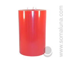 Romance Red 9.5 x 6 Pillar Candle 3-wick