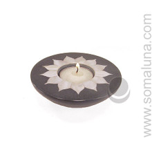 Mother-of-Pearl Flower Tealite Candle Holder