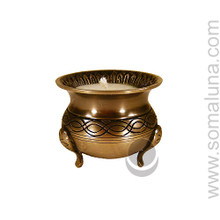 Brass Cauldron Tealight Holder with Candle