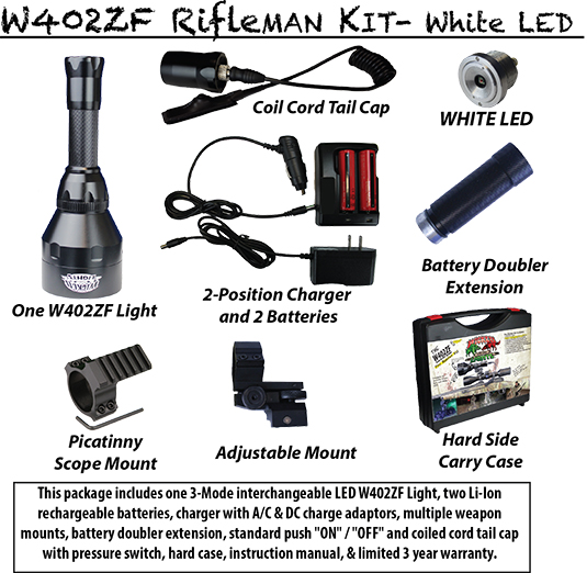 with the wicked lights w402zf hog and predator hunting rifleman kit. Black Bedroom Furniture Sets. Home Design Ideas