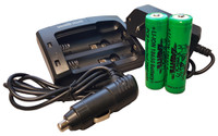 Wicked Lights 2-Position Charger & Li-Ion 18650 Batteries