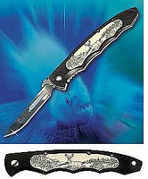 Havalon Piranta Whitetail Deer Scrimshaw Replaceable Blade Hunting Knife Combo Pack with 12 Replacement blades, and Holster XTC-60WT D