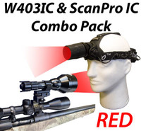 Wicked Lights W403IC and ScanPro IC Night Hunting Light Combo Kit with RedLED Thumbnail