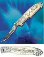 Havalon Piranta Grizzly Bear Scrimshaw Replacable Blade Pro Hunting Knife XT60PRGriz D