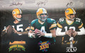 Green Bay Packers 3-Super Bowl Winning Quarterbacks Signed Canvas (rolled)