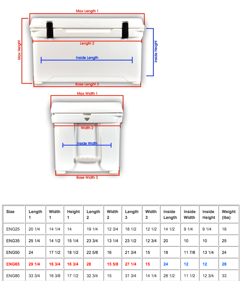 Engel Cooler Dimensions - 65 Quart Cooler Dimensions