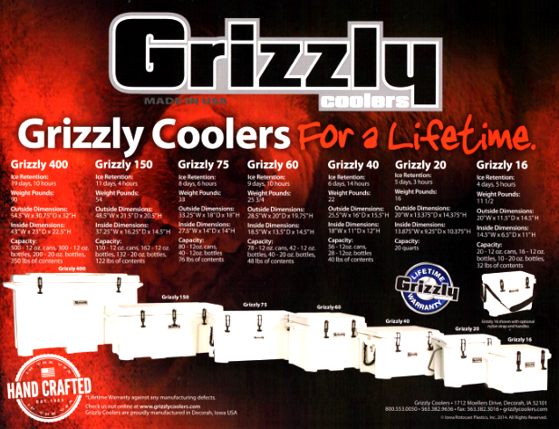 Grizzly Cooler Ice Ratings - Specifications and Dimensions