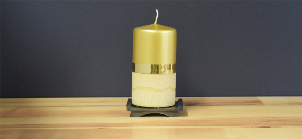 Unscented Gold German pillar candle