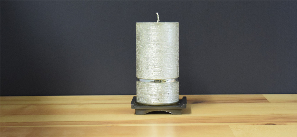 Silver Dripless Pillar Candle