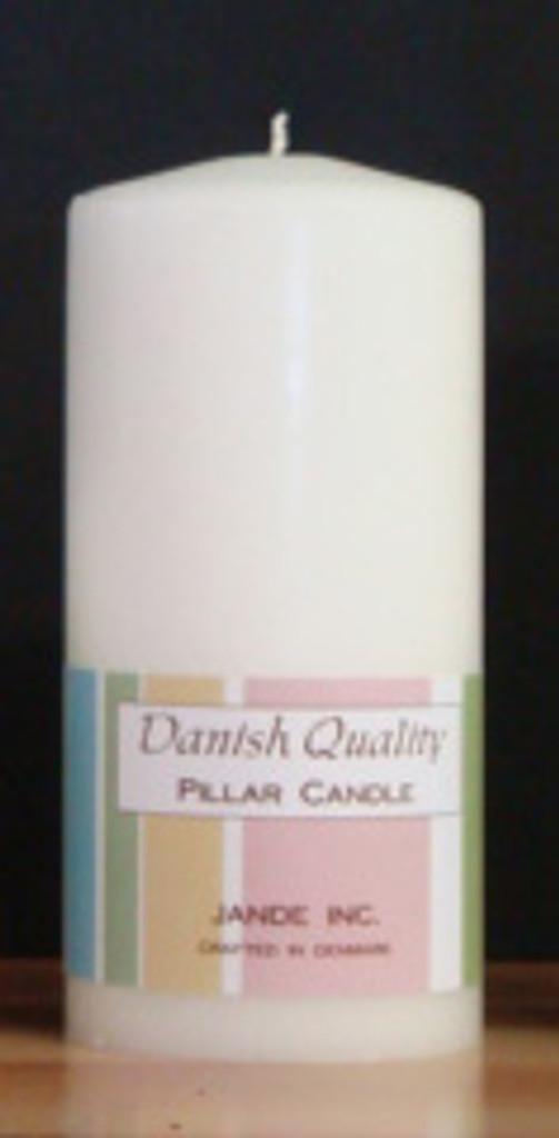 "2.75"" x 6"" White Danish Pillar Candle."
