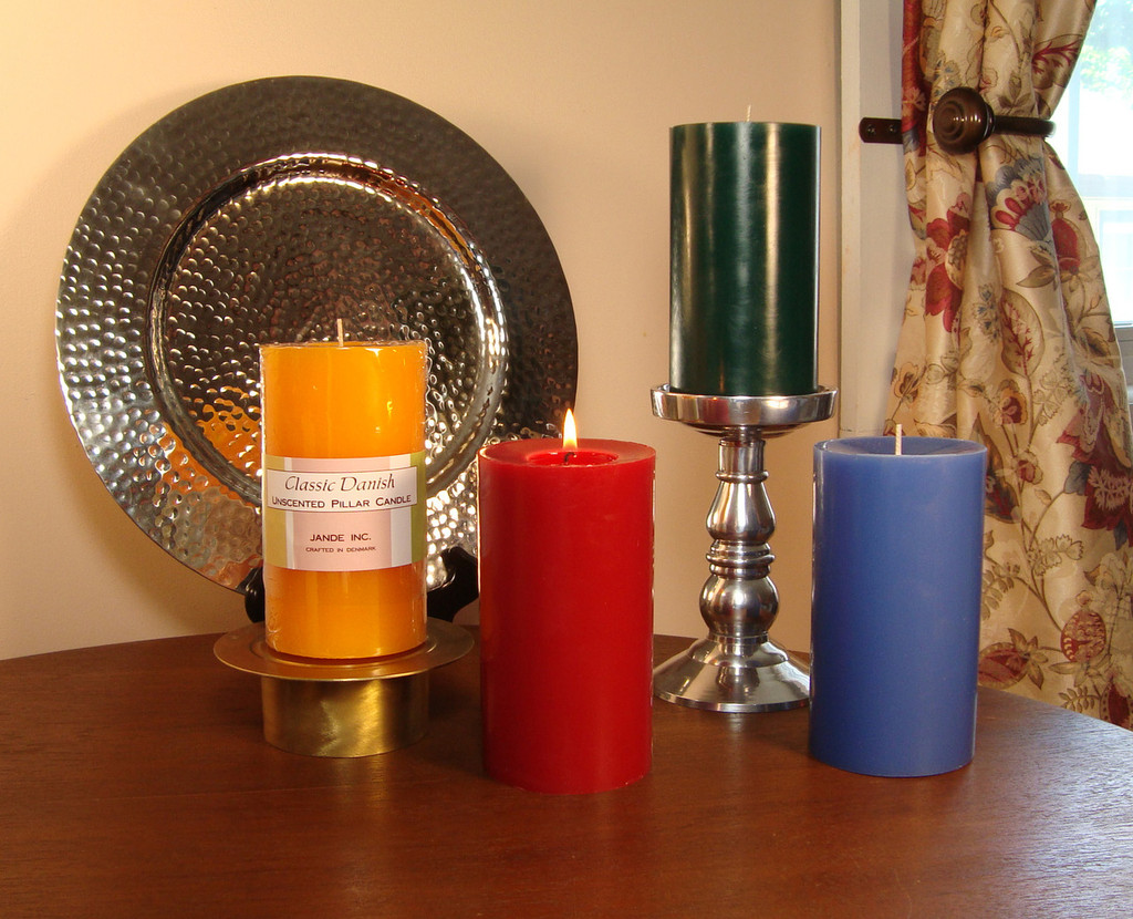 Unscented Classic Danish Pillars: Yellow, Red, Drak Green and Periwinkle.