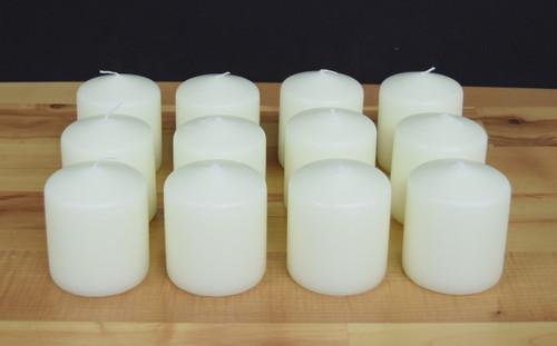 "3""x3"" Ivory Unscented Pillar Candles"