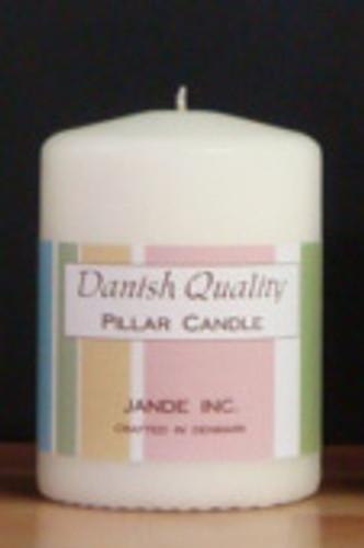 "White or Ivory Danish Pillar Candle. 2.75"" x 4"""