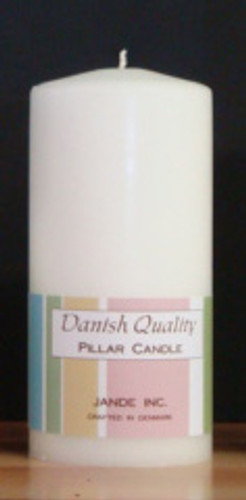 "2.75"" x 6"" White Danish Pillar Candle."