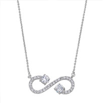 Open Infinity Love Sterling Silver CZ Necklace