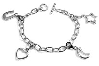 Love You To the Moon and Stars Sterling Silver Charm Bracelet