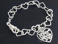 Love Amor Heart Charm Bracelet Sterling Silver